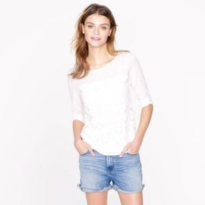 J. Crew Factory White Daisy Embroidered Lace Top